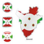 Burundi in map and internet buttons — Stockvektor