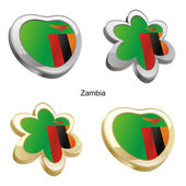 Zambia flag in heart and flower shape — Stock Vector