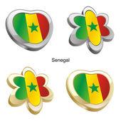 塞内加尔旗子在心脏和花的形状 — 图库矢量图片