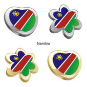 Namibia flag in heart and flower shape — Stock Vector