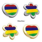 Mauritius flag in heart and flower shape — Vetor de Stock
