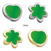 Libya flag in heart and flower shape — Stock Vector