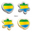 Gabon flag in heart and flower shape - Stock Vector