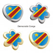 Democratic congo flag heart and flower - Stok Vektör