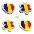 Chad flag in heart and flower shape - 图库矢量图片