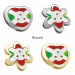 Burundi flag in heart and flower shape - Stok Vektör