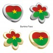 Burkina faso flag in heart and flower - Stock Vector