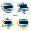 Botswana flag in heart and flower shape - Stok Vektör