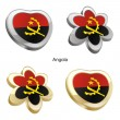 Angola flag in heart and flower shape - Stock Vector