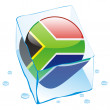 South africa button flag frozen in ice — Stock Vector