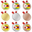 Royalty-Free Stock Vector Image: Zimbabwe vector flag in medal shapes