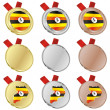 Royalty-Free Stock Vector Image: Uganda vector flag in medal shapes