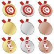 Tunisia vector flag in medal shapes — Stock Vector