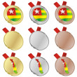 Royalty-Free Stock Vector Image: Togo vector flag in medal shapes