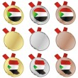 Sudan vector flag in medal shapes — Stock Vector