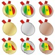 Senegal vector flag in medal shapes — Stock Vector