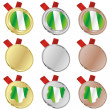 Nigeria vector flag in medal shapes — Stock Vector