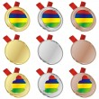 Mauritius vector flag in medal shapes — Stock Vector