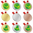 Mauritania vector flag in medal shapes — Stock Vector