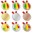 Mali vector flag in medal shapes — Stock Vector