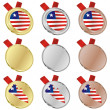 Liberia vector flag in medal shapes — Stock Vector