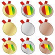 Guinea vector flag in medal shapes — Stock Vector