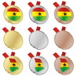 Ghana vector flag in medal shapes — Stock Vector