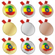 Ethiopia vector flag in medal shapes — Stock Vector