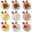 Eritrea vector flag in medal shapes - Stock Vector