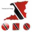Trinidad and tobago in map and buttons — Stock Vector