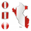 Peru in map and web buttons shapes — Stock Vector