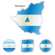 Nicaragua in map and web buttons shapes — Stock Vector