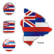 Hawaii in map and web buttons shapes — Stock Vector