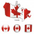 Canada in map and web buttons shapes — Stock Vector