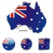 Australia in map and web buttons shapes - Stock Vector
