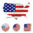 America in map and web buttons shapes — Stock Vector