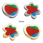Eritrea flag in heart and flower shape — Stock Vector