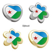 Djibouti flag in heart and flower shape — Stock Vector