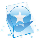 Somalia button flag frozen in ice cube — Stock Vector