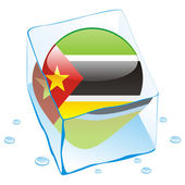 Mozambique button flag frozen in ice cub — Stock Vector