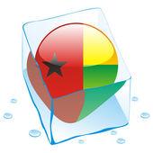 Bandera de botón guinea bissau congelado en el hielo — Vector de stock