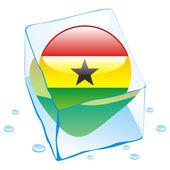 Ghana knop vlag bevroren in ijsblokje — Stockvector