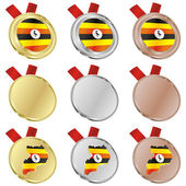 Uganda vector flag in medal shapes — Vettoriale Stock