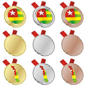 Togo vector flag in medal shapes — Stock Vector