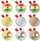Niger vector flag in medal shapes — Vettoriale Stock