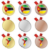Mozambique vector flag in medal shapes — Stock Vector