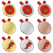 Morocco vector flag in medal shapes — Stock vektor