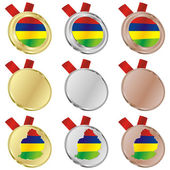 Mauritius vector flag in medal shapes — Stockvektor