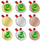 Mauritánie vektor vlajka ve tvarech medaile — Stock vektor