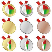 Madagascar vector flag in medal shapes — Stok Vektör